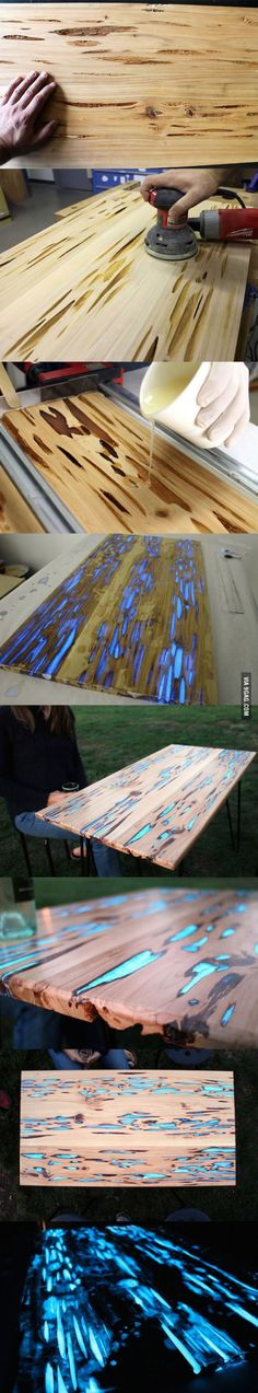 Glowing table resin mixed with luminous blue dye! I am over the moon about this idea!