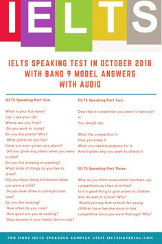 IELTS Speaking Test in October 2018 with Band 9 Model Answers with Audio - veganfunnelcake English Speaking Skills, English Writing Skills, English Language Learning, English Vocabulary, Academic Vocabulary, English Exam, English Study, English Time, English Phrases