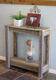 Truly unique console table has been built from naturally weathered reclaimed wood and is perfect to showcase at any entry way or any area that needs some life. Table measures x x and has… Wooden Pallet Projects, Pallet Crafts, Diy Pallet Furniture, Farmhouse Furniture, Rustic Furniture, Farmhouse Decor, Diy Furniture To Sell, Furniture Design, Farmhouse Bench