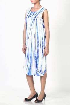 If you love to experiment than this Elegant blue and white Tie and Dye Drape Shift Dress is just the right piece!  Dimple Ragani Midi Dress  Buy it here > http://www.violetstreet.com/dimple-ragani-midi-dress
