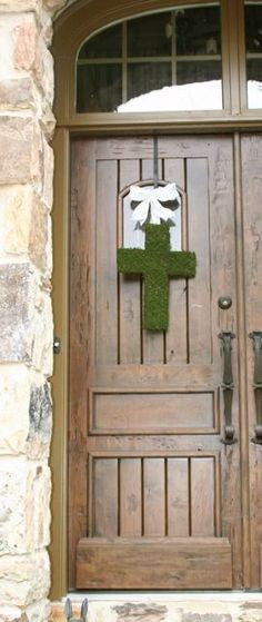 Moss Covered 18 Inch Wooden Cross Door Wreath by SpottedLeopard, $69.95