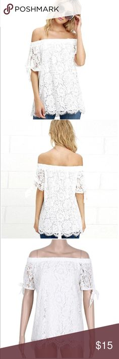 NEW off the should lace top Brand new off the shoulder lace top. Very cute and perfect for summer. Size medium but fits like a x-small. Never worn. Tops Blouses
