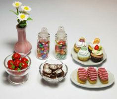 Dollhouse Miniature Party Set Mini Candy Jar Food Cupcake Eclairs Bowls | eBay