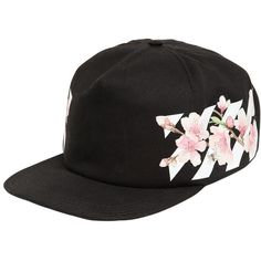 Off White Women Cherry Flowers & Stripes Baseball Hat ($205) ❤ liked on Polyvore featuring accessories, hats, black, pattern hats, off white hat, stripe hat, ball cap and baseball hat