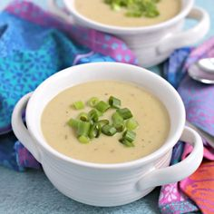 Instant Pot Vegan Potato Leek Soup is smooth and creamy without using any dairy. And it's easy to make in 30 minutes. I love making soup in my Instant Pot electric pressure cooker. Potato And Leak Soup, Vegan Potato Leek Soup, Cooker Recipes, Soup Recipes, Vegetarian Recipes, Healthy Recipes, Vegan Vegetarian, Free Recipes, Vegan Stew