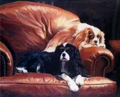 J.J. and Dylan, by Jan Lukens making themselves at home on te furniture.