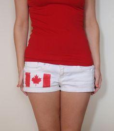 DIY Canada Day Shorts - Using Tulip Red Fabric Spray Paint
