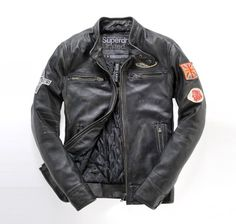Superdry Super Scrambler Leather Jacket - The Swagger Motorcycle Style, Motorcycle Outfit, Biker Style, Motorcycle Jackets, Jacket Style, Fashion Mode, Look Fashion, Mens Fashion, Style Masculin
