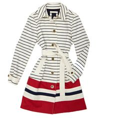 Nautica Stripe Dipped Trench $129.50 - 5 Faves for Fall on InStyle