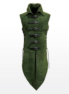 green leather long doublet