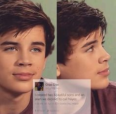 Omg that's so not true!! Hayes is not an alien he's just weird and crazy and funny!! He also cute to!!!!
