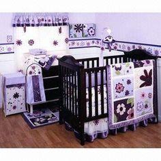 5-piece Purple and Lavender Butterfly Bird Baby Girl Nursery Crib Flower Bedding Set