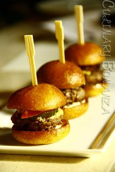 "Mini Kobe ""Sliders"" at CUT by Wolfgang Puck  http://culinarybonanza.blogspot.com/2012/09/floral-herbs-infused-cocktails-at-cut.html"