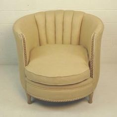 Beau Vintage Channel Back Tub Chair With Carved Wood Frame Cream Linen  Upholstery Seat Height 17