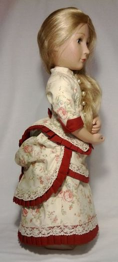 Victorian late 1800 A Girl for all time cream bustle dress Cotton Lace, Cotton Fabric, Bustle Skirt, Lawn Fabric, Fitted Bodice, Beautiful Roses, American Girl, Pixie, Floral Prints