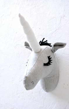Unicorn Faux Taxidermy/Unicorn Trophy Head/ Fabric Animal Trophy/OOAK/wall mount…
