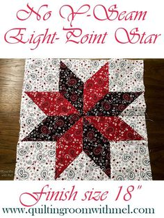 Large No Y-Seam Eight-Point Star Quilt Block Video Tutorial - The Quilting Room with Mel