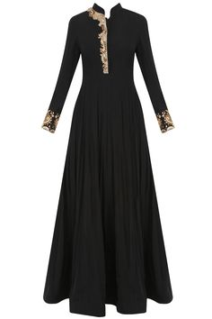 Black dabka and nakshi embroidered anarkali set available only at Pernia's Pop Up Shop. Indian Gowns, Indian Attire, Pakistani Dresses, Indian Wear, Indian Outfits, Muslim Fashion, India Fashion, Dress Outfits, Fashion Dresses