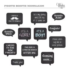 baby shower photo booth | DIY Photo Booth Printables Chalkboard Signs BABY by WhiskerWorks