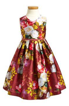 Pippa & Julie Pippa& Julie 'Autumn Floral' Shantung Dress (Toddler Girls, Little Girls & Big Girls) available at #Nordstrom