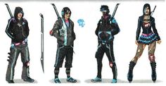 Concept art of the Deckers from Saints Row 3 (found on http://saintsrow.wikia.com/Deckers, pinned 28/02/2015) Chariot research.
