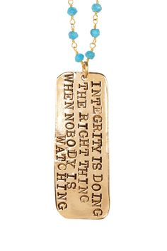 """""""What Is Integrity"""" Turquoise Pendant Necklace"""