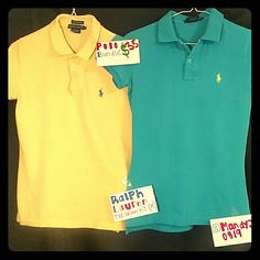 """Ralph Lauren """"THE SKINNY POLO"""" bundle size medium **FINAL MARK DOWN***Ralph Lauren """"THE SKINNY POLO""""  short sleeve collared shirt bundle size medium. (1) yellow with blue pony, (1) blue with yellow pony. 100 % cotton Ralph Lauren Tops Tees - Short Sleeve"""
