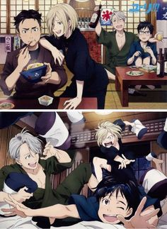 Soooo~ Victor and Yuri are the overbering Drunk perants who tell emberresing stories about you (yurio) to your boyfriend (Otabek) Yuri Plisetsky, Manhwa, Yurio And Otabek, Yuri On Ice Comic, Yuri Katsuki, ユーリ!!! On Ice, Levi X Eren, Kawaii, Ice Skating