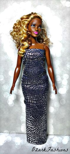 Curvy Barbie doll dress - Handmade dress to fit Curvy Barbie. Bow in back, with slit for style!