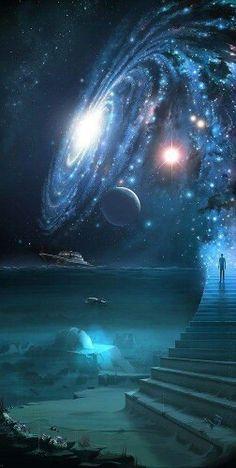 Stairway to the cosmos. Stairway to the cosmos. Fantasy Kunst, Fantasy Art, Fantasy Landscape, Landscape Art, Galaxy Wallpaper, Wallpaper Art, Milky Way, Science And Nature, Science Space