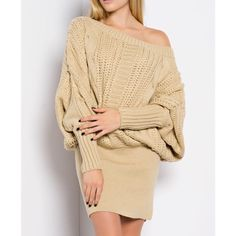 """X """"Sculptor"""" Loose Long Sleeve Sweater Dress Taupe colored long sleeve off shoulder sweater dress. Can be ruched near the hips. Brand new. True to size. NO TRADES. PRICE FIRM. Bare Anthology Dresses Mini"""