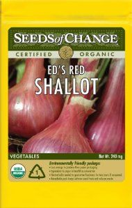 Seeds of Change S17324 Certified Organic Ed's Red Shallot by Seeds of Change. $4.99. Seeds of change contributes 1-percent of net sales to advance the cause of sustainable organic agriculture worldwide. 100-Percent certified organic seeds grown in the USA for over 20-year. Independently tested for high germination rates and purity and meets or exceeds federal standards. Hermetically sealed package that is re-sealable gives longer life and higher germination rates. Free of ...