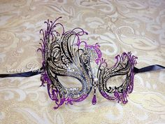 Black Laser Cut Venetian Masquerade Mask with by 4everstore