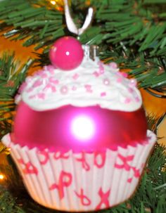 Breast Cancer Christmas Ornament Cupcake by BabyBirdCrafts on Etsy, $8.50