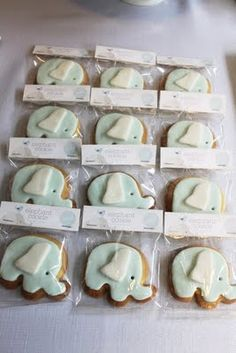 Elephant cookies for an elephant themed baby shower. <3 Mom will love this idea