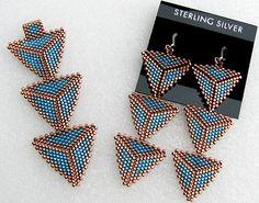 Custom Peyote Triangle Pendant and Earrings – Handwerk und Basteln Peyote Beading, Seed Bead Earrings, Seed Bead Patterns, Peyote Patterns, Beading Patterns, Triangle Earrings, Diy, Necklaces, Bracelets