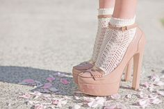 nude high heels + dainty socks