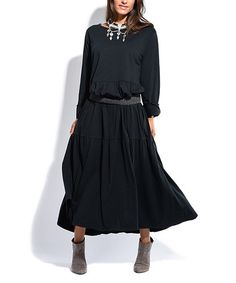 Another great find on #zulily! Black Pocket Blouson Dress - Plus Too #zulilyfinds