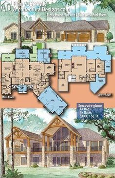 Above Ground Basement House Plans Lovely Plan Mk Rustic House Plan with 4 Beds and A Bunk Room Basement House Plans, Ranch House Plans, Craftsman House Plans, Dream House Plans, House Floor Plans, Craftsman Ranch, Basement Bedrooms, The Plan, How To Plan