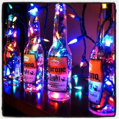 Reuse old beer bottles for decoration.  Great party decor!
