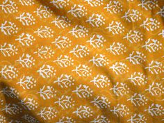 Block Printed fabric, Pure Cotton Fabric in Mustard Yellow and White Color, Hand Printed Fabric, Indian cotton fabric by the yard