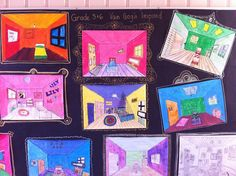 my students love perspective drawing. I love this display on the black paper with little drawn frames.