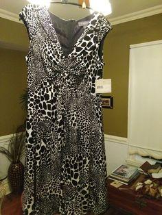 LIZ CLAIBORNE BLACK AND WHITE ANIMAL PRINT DRESS #LizClaiborne #Bubble #Cocktail