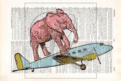 Elephant Print, Dictionary art print, vintage airplane, nursery wall art, kids room art, zoo animal prints, airplane art print no 12 by quiveringbeeprints on Etsy https://www.etsy.com/listing/534676833/elephant-print-dictionary-art-print