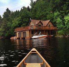 a secluded cabin only accessible by canoe