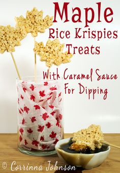 If you like crispy rice cereal and maple syrup, you will love these Maple Rice Krispies Treats with a yummy maple caramel sauce for dipping. Rice Crispy Treats, Krispie Treats, Rice Krispies, Fun Desserts, Delicious Desserts, Dessert Recipes, Desserts Caramel, Party Recipes, Fall Recipes