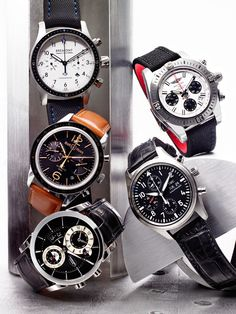 Clockwise from top right: Breitling Chronomat 41 Airborne ($8,000); IWC Pilot's Watch Chronograph ($5,900); Parmigiani Tonda Hémisphères ($26,000); Bell & Ross BR126 Heritage GMT & Flyback ($7,900); Bremont Boeing Model 247 ($6,750).