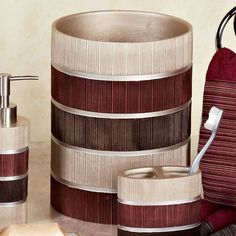 Rejuvenate your bathroom with the beautiful, contemporary resin Modern Line Burgundy Striped Bath Accessories. These bath accents feature silver, brown,. Maroon Bathroom, Burgundy Bathroom, Bathroom Accessories Sets, Soap Dispenser, Contemporary, Modern, New Homes, Home Decor, Bath