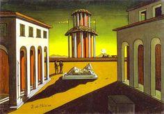 """Reproducció en làmina de paper del quadre """"Piazza d'Italiai"""" pintat per giorgio de Chirico l'any 1953, en motiu de l'exposició """"Somni o realitat. El món de Giorgio de Chirico"""" que té lloc a Caixaforum Barcelona de Juiliol a Octubre de 2017.  Mida: 54x32 cm Material: làmina de paper embolicada en plàstic transparent."""
