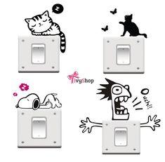 Dê um toque especial em seu ambiente. Adesivos de parede para interruptores!   Disponíveis em: www.ivyshop.com.br  #decoração #parede #adesivo #tomada #interruptor #adesivoparede #adesivodeparede #adesivodecorativo #gatinho #louco #snoopy #decorar #adesivos #adesivocriativo #criativo #comprinhas #mimos #fofurice #ivyshop #interruptores #produtoscriativos #presentescriativo #presentes #dicadepresente